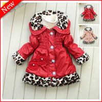 Wholesale 2013 Winter Girl Baby Coats Leopard Red Lapel Leather Jacket Girls Outfits Baby Winter Clothing Kids Long Sleeve Christmas Clothes years