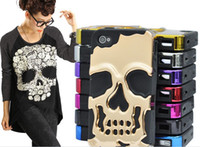 achat en gros de hybride cas du crâne-Nouveau cas hybride de crâne de crâne de choc dur de couverture de coquille de silicone de couverture pour l'iphone 4 4S 5