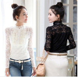 New Lace Blouse Sexy blouses Fashion Blouses Women Blouses and tops Lace Blouses Long-sleeve Blouse Black White Blouses tshirts pullover QY7