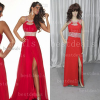 Wholesale Hot Sale Red A line Chiffon Evening Dresses with Shiny Sequin Beaded and Jewel Neckline BLST P Get One Bracelet for Free