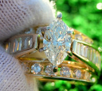 Wholesale Certified CT Marquise Round Diamond Engagement Wedding Ring K Gold