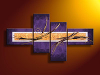 Cheap Framed 4 Panel Large Purple Painting Canvas Wall Art Interior Decoration Home Pictures XD01536