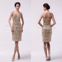 Wholesale 2013 Vintage New Fashion Sheath Cocktail Dresses With BlingBling Sequins and Gold Crystals DH4139 Buy Get a Tiara Free