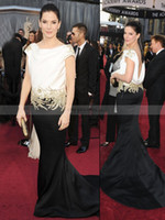 Wholesale 2013 Sandra Bullock Celebrity Oscars Awards Red Carpet Dresses Stain Black and White Ruffles Embroidery Backless Evening Pageant Gowns