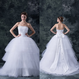 Wholesale White Tulle Pleats Shining Sequins Beading Layered Ruffles with Bow Ball Gown Wedding Dresses get a piece of bracelet for free