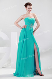 Wholesale GK Stock Strapless Chiffon Split Ball Gown Evening Prom Party Dress Size US CL4412