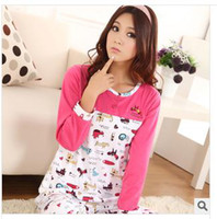 Wholesale Qiu dong detonation long sleeved cartoon knife dog cotton pajamas M L size XL ms leisurewear S001