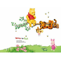 Wholesale Winnie the Pooh Pattern PVC Transparent Wall Sticker Cute and Colorful Nursery Kid s Room Wall Decoration AY703