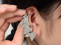 Wholesale 10X Fashion Punk Clear Crystal Triangles Women Earring stud clip Ear Cuff Wrap Earrings Jewelry JE05022