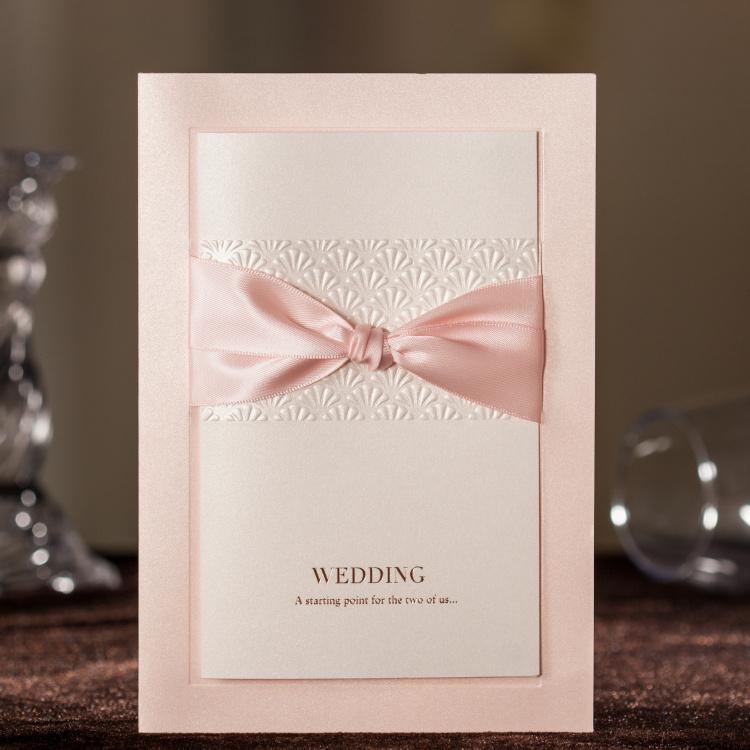 Cw3061 Gorgeous Pink Embossed Wedding Invitations Cards With Bow – Embossed Invitation Cards