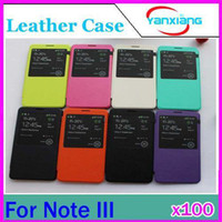 For Samsung Plastic  DHL 100 PCS View window case for samsung galaxy note 3 n9000 leather pu cover flip cases note3 RW-L11-189
