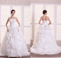 Wholesale Stunning Strapless Sleeveless Ruffles Fully Beaded Organza Fabric Sexy Lace Up Back Ball Gown Wedding Dresses with Court Train Plus a Veil