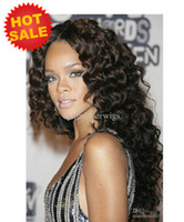"Wholesale Sexy Front Lace Wig - Gorgeous Sexy Big Curly 100% Indian Human Hair Remy Glueless Lace front Full Lace Wigs Loose wave 8-24"" Natural Black #1 #1b #2 for black"