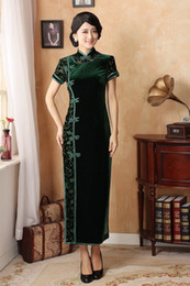Wholesale Chinese Cheongsam Dress Improves Long Dress Daily Wear Party Dress Short Sleeve Dress High Slit Pleuche Slim Show Curve Dress