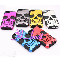 Wholesale 120Pcs High Quality in Hard Case For iPhone C Skull Ghost Design Plastic PC Silicone Rubber Armor Cover