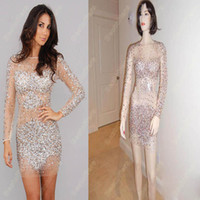 Wholesale Sexy Nude Long Sleeves Beads Sequins Crystal Short Knee Length Evening Dresses JOV7757 get a braclete for free