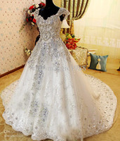 Wholesale Sharking Amazing Crystle Beaded Cap SLeeve Alencon Lace Ball Gown Zuhair Murad Wedding Dresses White Luxury Cathedral Bridal Gowns