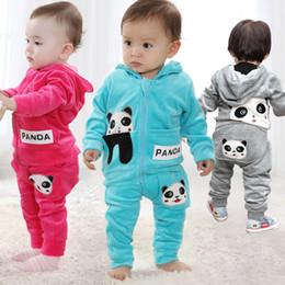 4Set Baby Kids Cartoon Panda Long Sleeve Hooded Velvet Jacket Coats+Pant 2pcs Set Boys Girls Casual Sport Suit Children Clothing Outfits