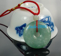 Jade burma natural jade - Real Burma Green jadeite jade Blessing Button luck Natural green jade charm pendant necklace
