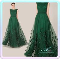 zuhair murad dress - Fashionable Elegant Zuhair Murad Dress Emerald Green Tulle Cap Sleeve Evening Dress AL2051
