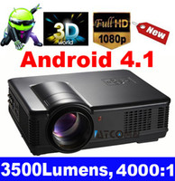 Wholesale Freeshipping On Sales HD Proyector lumens LED Android Wifi Multimedia video D Projector Native1280 full hd for home theatre