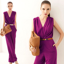 Wholesale A349 summer women new fashion OL purple green deep v neck sexy elegant jumpsuits romper long overalls pants M L drop ship