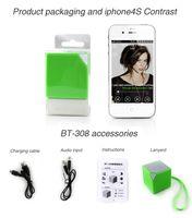 DHL EMS 10PCS портативный мини беспроводная Bluetooth стерео хорошо известный динамик с микро телефона HANDFREE для планшета мобильного телефона BT308