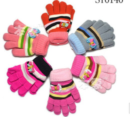 Wholesale ST0140 children double knitted gloves boys girls stripe bow mittens kids winter baby accessories mixed designs jlbgmy