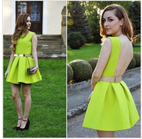 Wholesale A469 summer women new fashion sexy sleeveless backless neon green dress girls ice skating dresses S M L no belt drop ship