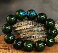 Chirstmas beaded string bracelet - AAA Grade Natural dark Green Jadeite Jade beads charm beaded Bracelet adjustable string jade gift