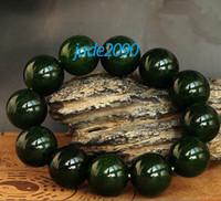al por mayor jadeíta del jade brazalete de cuentas-Envío gratuito - AAA Grado oscuro verde natural de la jadeíta del jade pulsera de perlas de cuentas encanto (cadena ajustable) - regalo de jade