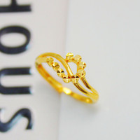 Alloy / Silver / Gold Japan and South Korea Female Glitter flower cars elegant simplicity genuine gold plated ring with 18K gold bridal wedding jewelry birthday gift