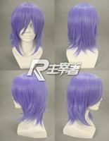 Wholesale 32cm Purple Red Pandora Hearts Xerxes Break Reverse False Short Hair Cosplay Straight Wigs Fancy Dress A