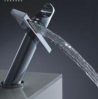Ceramic Chrome Deck Mounted Bathroom waterfall basin faucet Basin mixer Waterfall mixer taps Brass chorm basin taps Bathroom tap