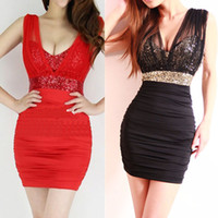 Wholesale 704 womens new fashion black red blue white v neck sexy gauze sequins backless nightclub mini dress ladies party dresses