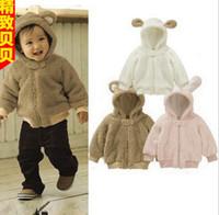 al por mayor bebé capucha de la chaqueta de invierno niño-Venta al por mayor - la ropa encantadora del bebé del invierno del otoño arropa la chaqueta encantadora de los hoodies de los cabritos del conejo de la capa del ranúnculo