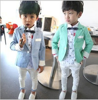 Spring / Autumn baby business suit - Hot Sale New Childrens Business Outfit Baby Boys Gentleman Style Dot Pieces Set Jacket And Trousers kids suit