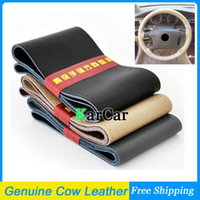 Wholesale Genuine Cow Leather DIY Car Steering Wheel Cover Hand Sewing With Needles