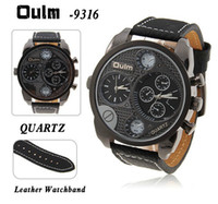 Wholesale Luxury OULM Dual Time Zones Watch Quartz Analog Military Men Sport Wrist Watches Round Dial Black Leather Wristwatch Outdoor