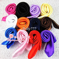 Wholesale Min order Size x52cm New Women s fashion solid candy colors satin silk like show square scarf