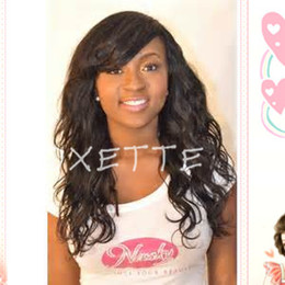 Oxette glueless full lace wig with bangs front lace wig Peruvian virgin wavy fashion bleached knots