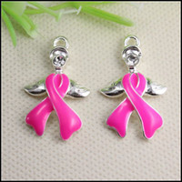 Wholesale 50PCS Crystal Pink Enamel Ribbon Breast Cancer Angel Wings Connector Pendants beads fit European Bracelet jewelry findings