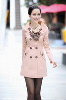 Wholesale Korean women new spring slim thin trench coat big yards pleated cotton collar double breasted with black scarf pink coats ewwt39