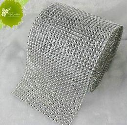 Wholesale Sales MIC Row DIAMOND Silver MESH WRAP SPARKLE RHINESTONE Platinum Ribbon Yards a0665