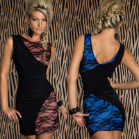 Wholesale 963 women new fashion blue pink lace patchwork sleeveless sexy lingerie clubwear prom dress plus size M XXL drop ship