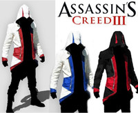 Wholesale AUbisoft TV Game Funs gift Assassins Creed III Conner Cosplay Costume Kenway Hoodie Coat trench coat