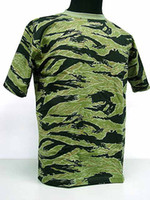 Short Polyester Anti_Foul Camouflage Short Sleeve T-Shirt Tiger Stripe Camo