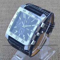 Wholesale 3pcs Fashion Oversize Face Big Leather Band Mens Boys Clock Sport Quartz Wrist Watch