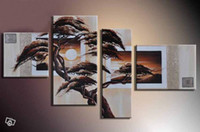 Cheap hand-painted village scenery painting art African forest sunrise wall decoration abstract oil painting 4pcs set Frameless draw