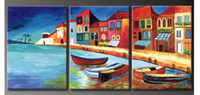Cheap hand-painted oil wall art Beach villa sailing home decoration decoration wall scenery painting 3pcs set Frameless draw
